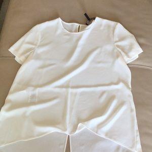 EUC BCBG white tuxedo styled short sleeve blouse